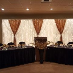 Decor Table And Backdrop With Gold