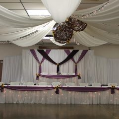Purple Tables Backdrop Ceiling Arrangement
