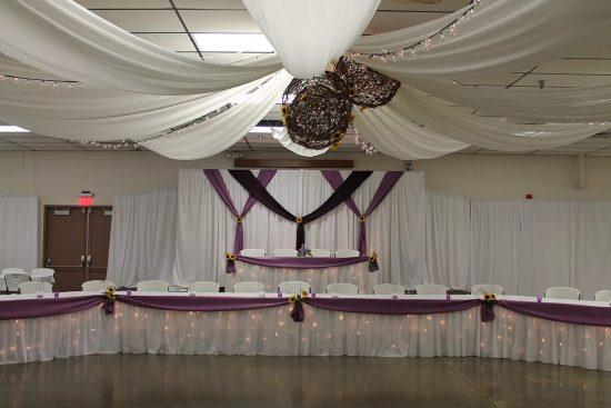Purple Tables Backdrop Ceiling Arrangement