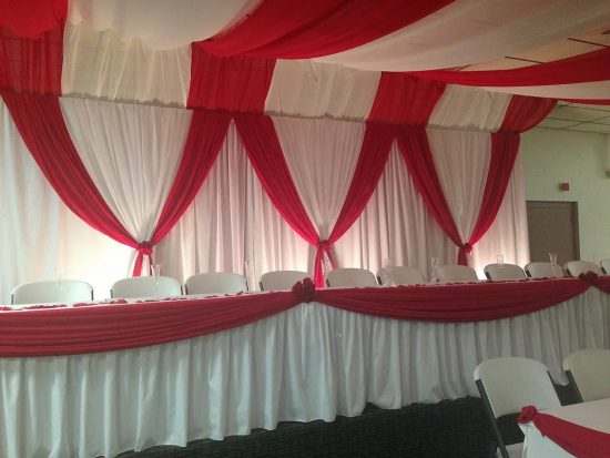 Red White Backdrop Table